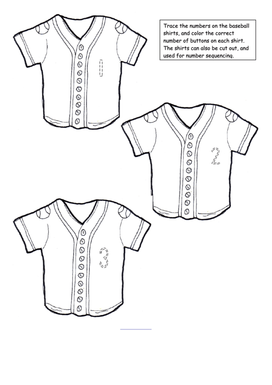 Baseball Shirts Numeral Match Game Template