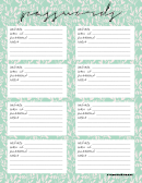 Floral Themed Password Log Template