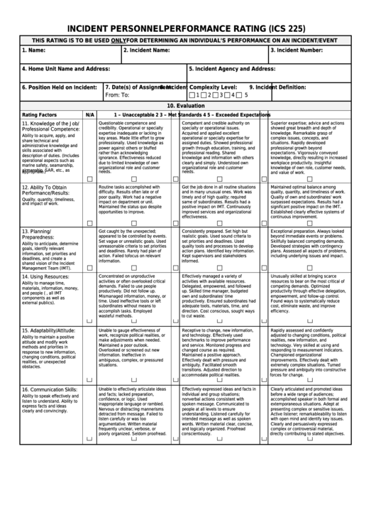 Fillable Form Ics 225 - Incident Personnel Performance Rating Printable pdf