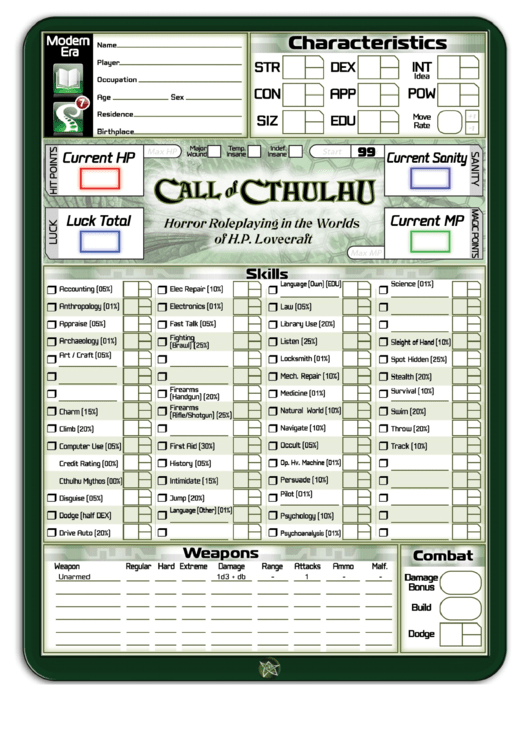 Top 6 Call Of Cthulhu Character