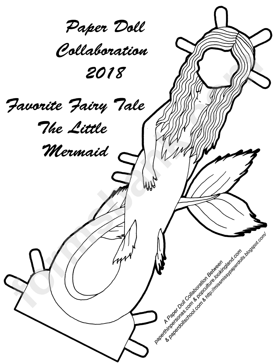 The Little Mermaid Black And White Paper Doll Template