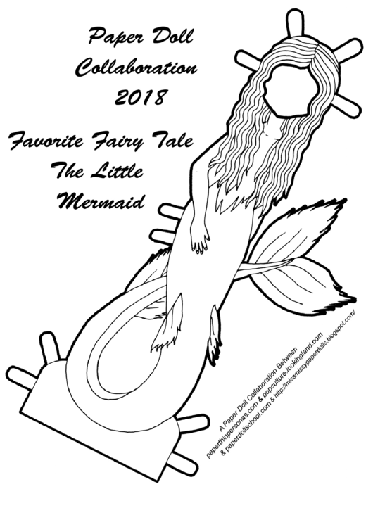 The Little Mermaid Black And White Paper Doll Template Printable pdf
