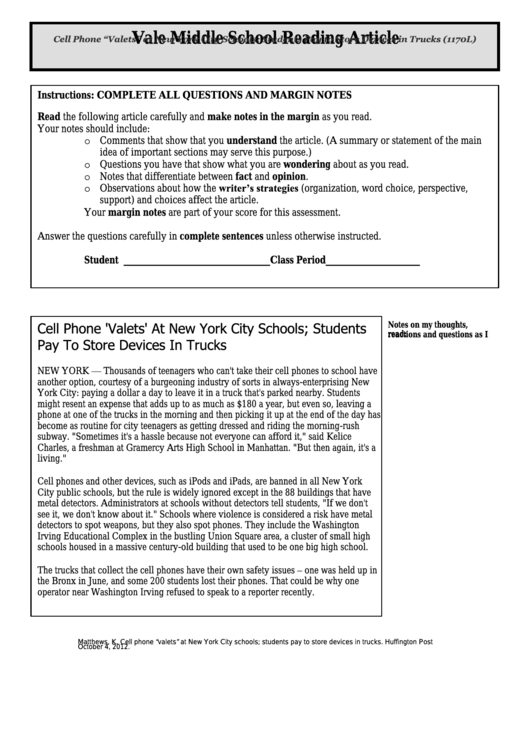 """Cell Phone """"Valets"""" At New York City Schools; Students Pay To Store Devices In Trucks (1170l) - Middle School Reading Article Worksheet Printable pdf"""