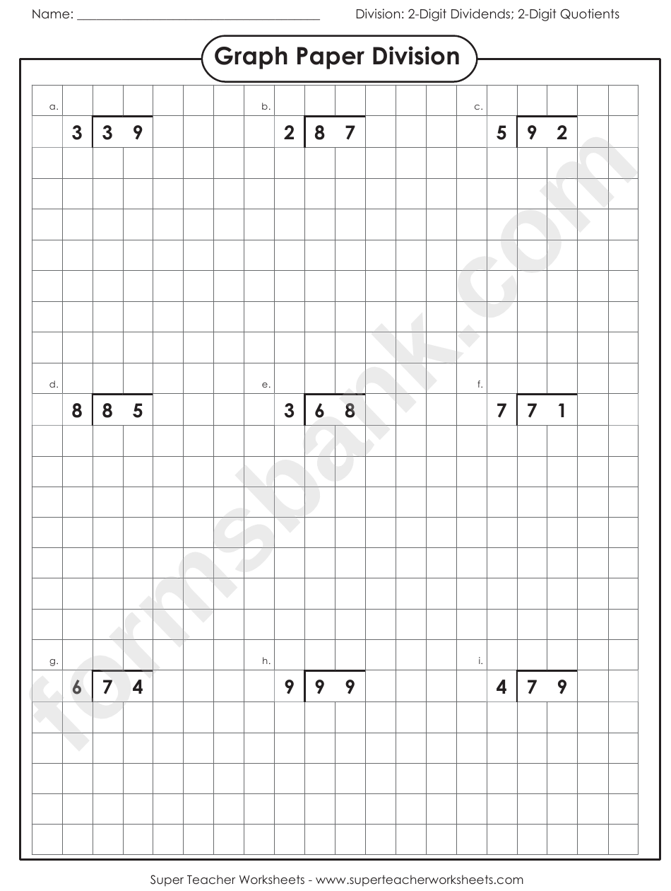 graph paper division worksheet with answer key