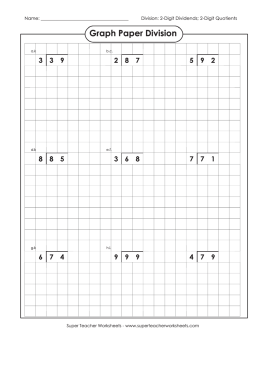 Graph Paper Division Worksheet With Answer Key Printable pdf