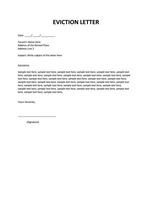 Eviction Letter Sample