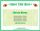 Football Fillable Certificate Template