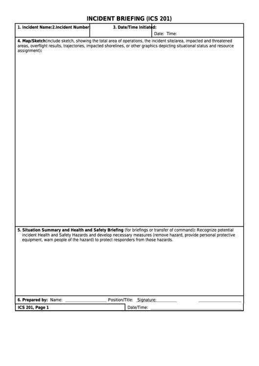 Form Ics 201 - Incident Briefing