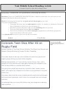 Colorado Teen Dies After Hit On Rugby Field - Middle School Reading Article Worksheet