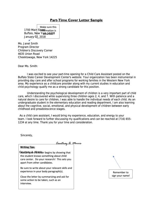Part-Time Cover Letter Sample Printable pdf