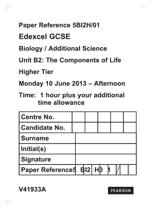 Edexcel Gcse Biology/additional Science - Unit B2 The Components Of Life