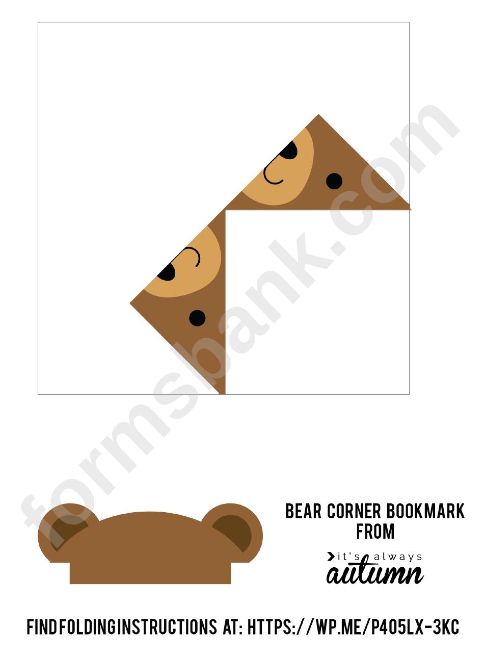 Origami Bear Corner Bookmark Template Printable Pdf Download