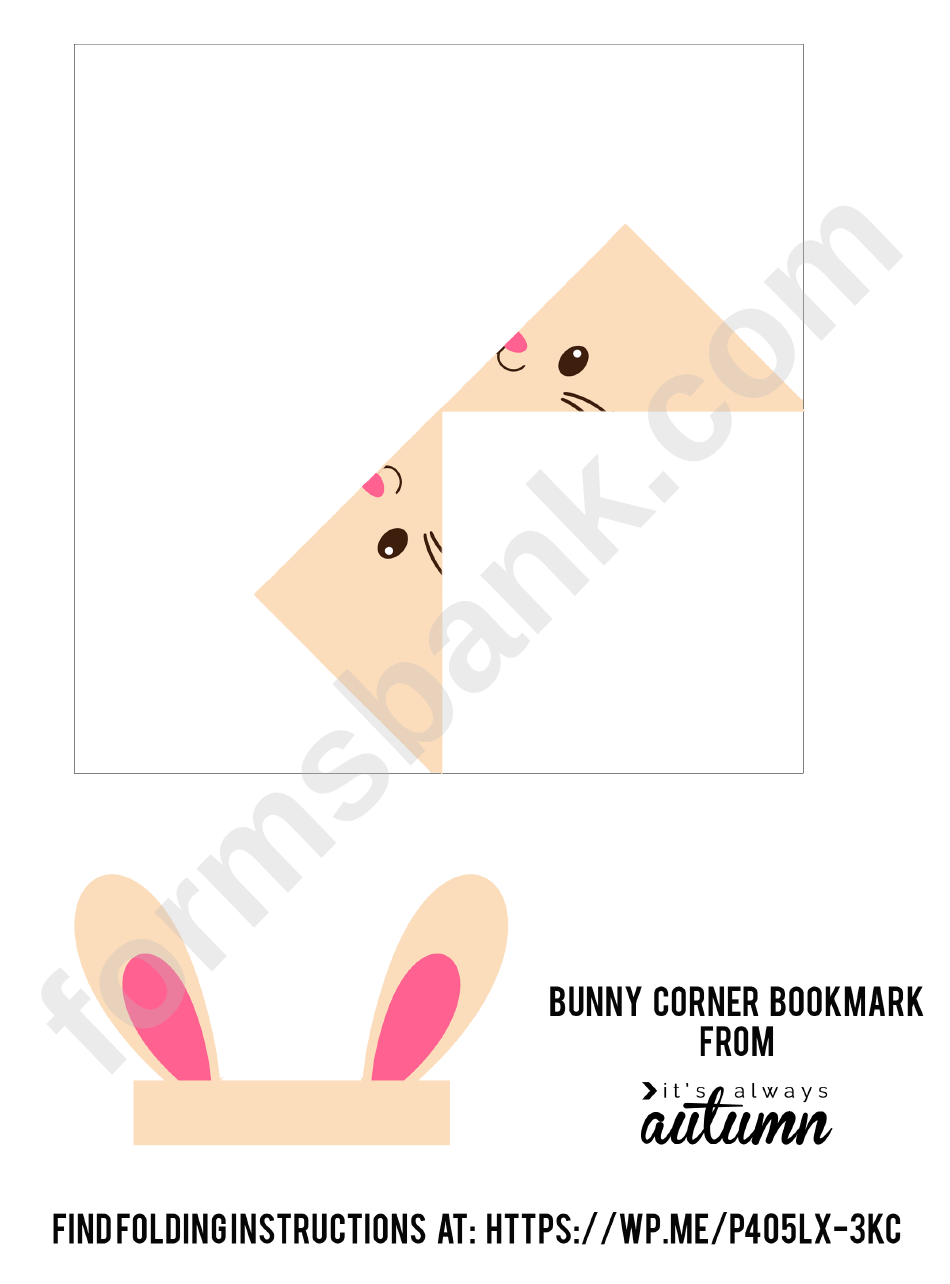 origami bunny corner bookmark template printable pdf download