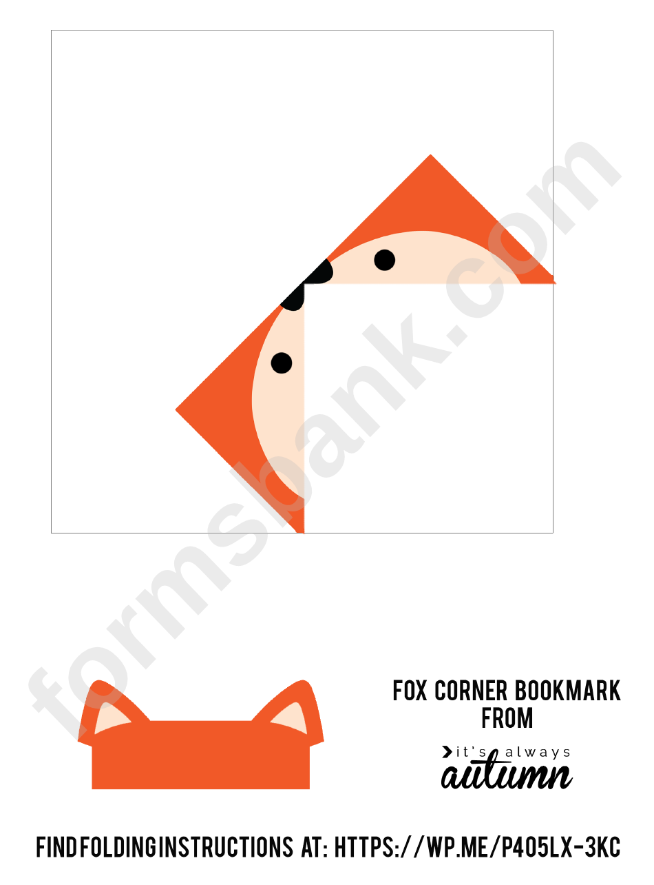 Origami Fox Corner Bookmark Template