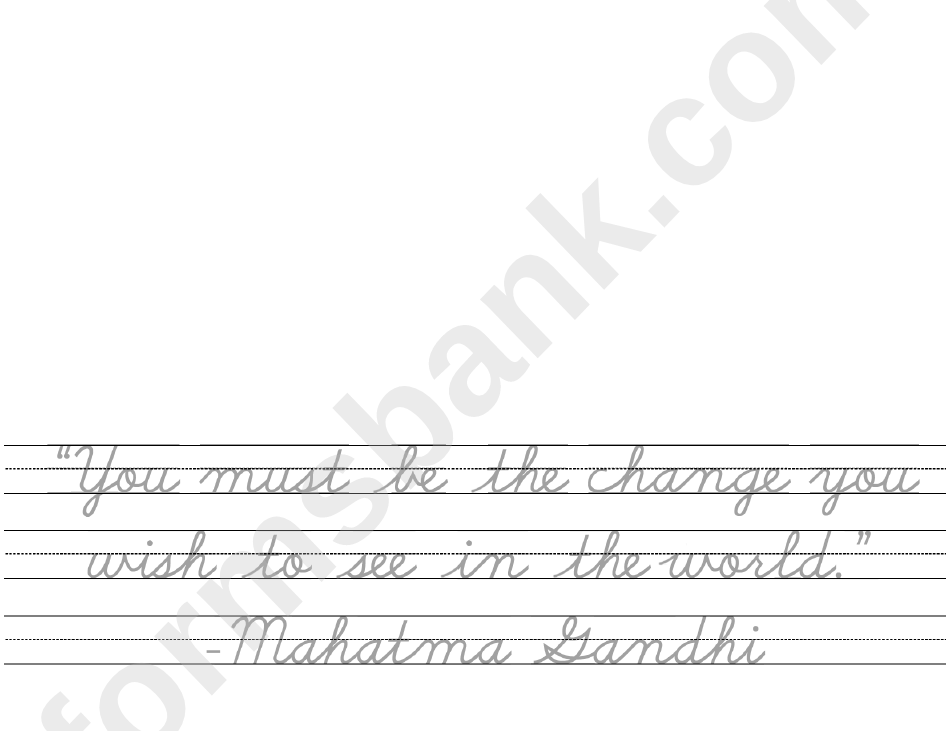 Practice Cursive Writing With This Gandhi Quote Handwriting Practice Sheets