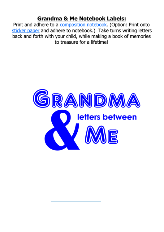 Grandma And Me Blue Notebook Labels Template