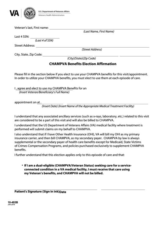 Fillable Va Form 10 493b Champva Benefits Election Affirmation