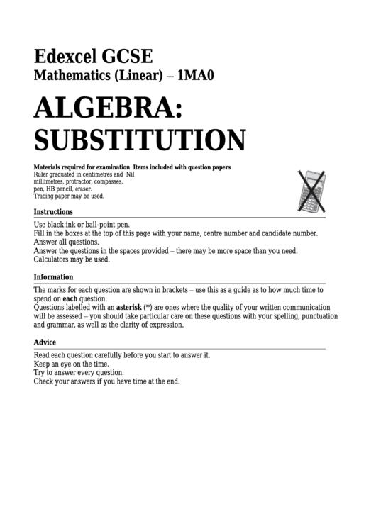 Edexcel Gcse Mathematics (Linear) - Algebra: Substitution