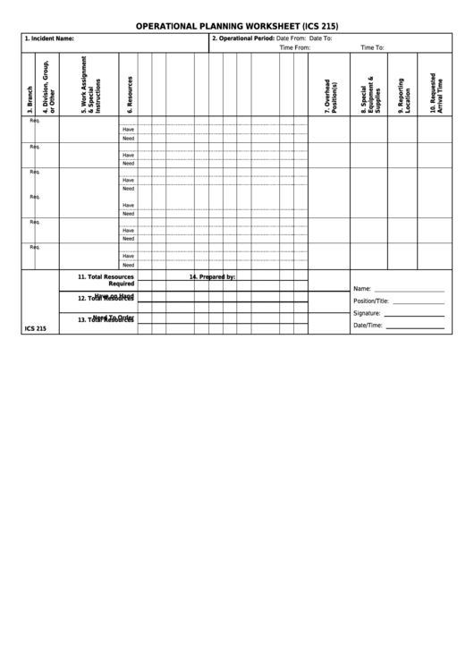 Ics Form 215 - Operational Planning Worksheet