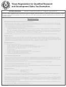 Form Ap-234 - Texas Registration For Qualified Research And Development Sales Tax Exemption