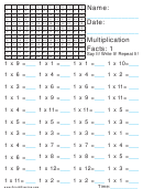 Multiplication 1x Worksheet