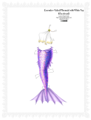 Lavender-tailed Mermaid With While Top Paper Doll Template