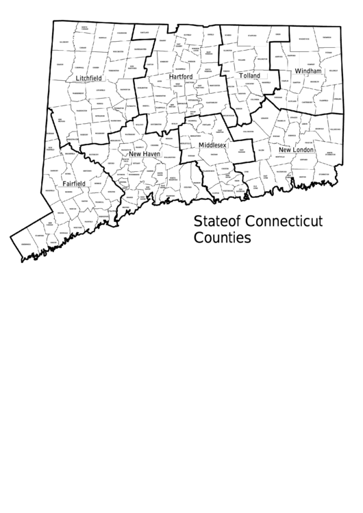 State Of Connecticut Counties Map Template Printable pdf