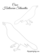 Crow Halloween Silhouettes Template