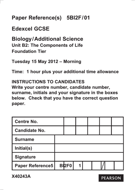 Edexcel Gcse Biology/additional Science - Unit B2: The Components Of Life Foundation Tier