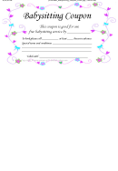 Babysitting Coupon Template - White Background, Purple Swirls