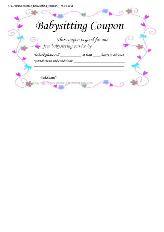 top babysitting coupon templates free to download in pdf format