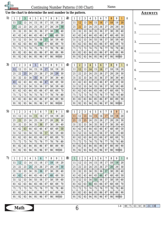 Continuing Number Patterns (100 Chart) Worksheet Template With Answer Key