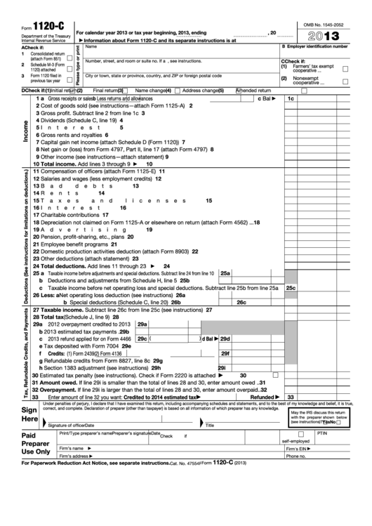 Fillable Form 1120-C - U s  Income Tax Return For