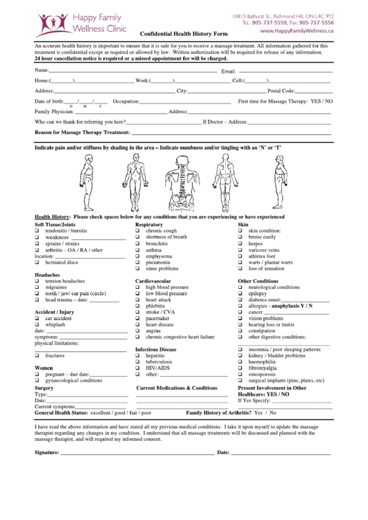 Confidential Health History Form Printable pdf