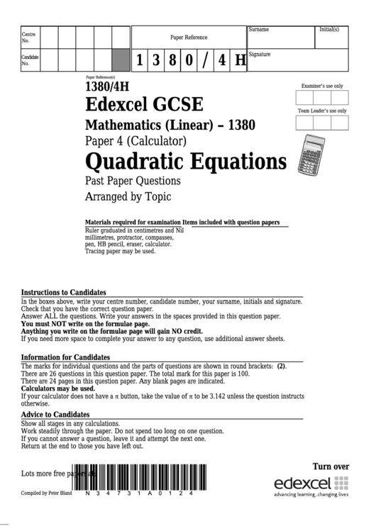 Edexcel Gcse Mathematics (Linear) - Quadratic Equations printable ...