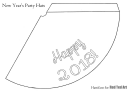 White Happy 2018 Party Hat Template