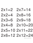Multiplication Chart 2 X 12