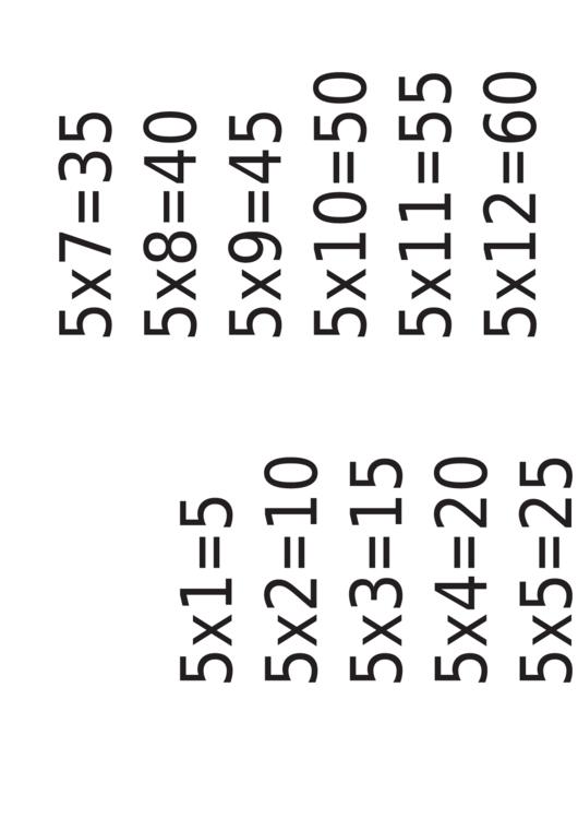 Multiplication Chart 5 X 12 Printable pdf