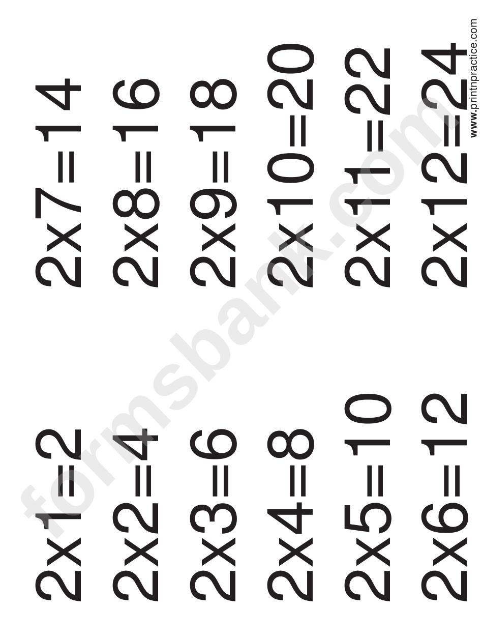 Multiplication Chart 2 X 12
