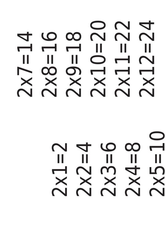 Multiplication Chart 2 X 12 Printable pdf