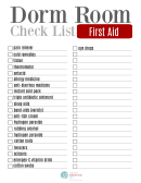 Dorm Room First Aid Checklist