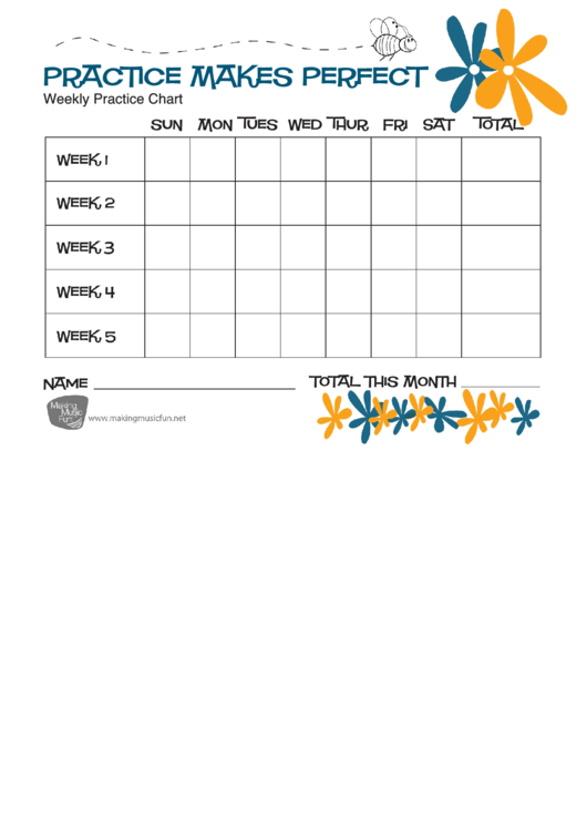Weekly Practice Chart Template Printable pdf