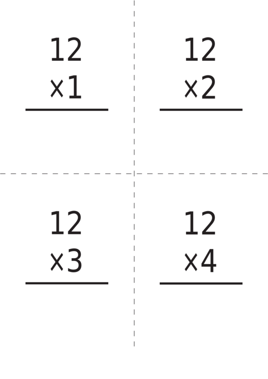 Multiplication Flash Card Template 12 X 12