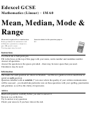 Mean, Median, Mode & Range Worksheet
