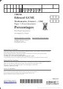 Percentages Mathematics Worksheet