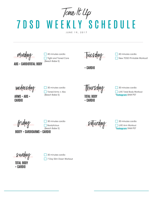 7dsd Weekly Schedule Template