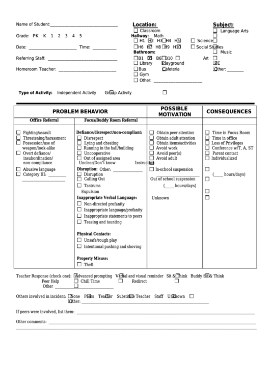Student Referral Sheet