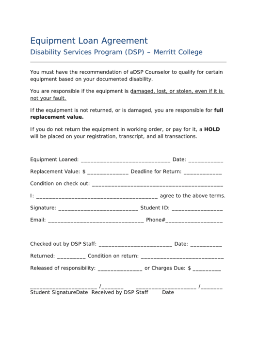 Equipment Loan Agreement - Disability Services Program (dsp)