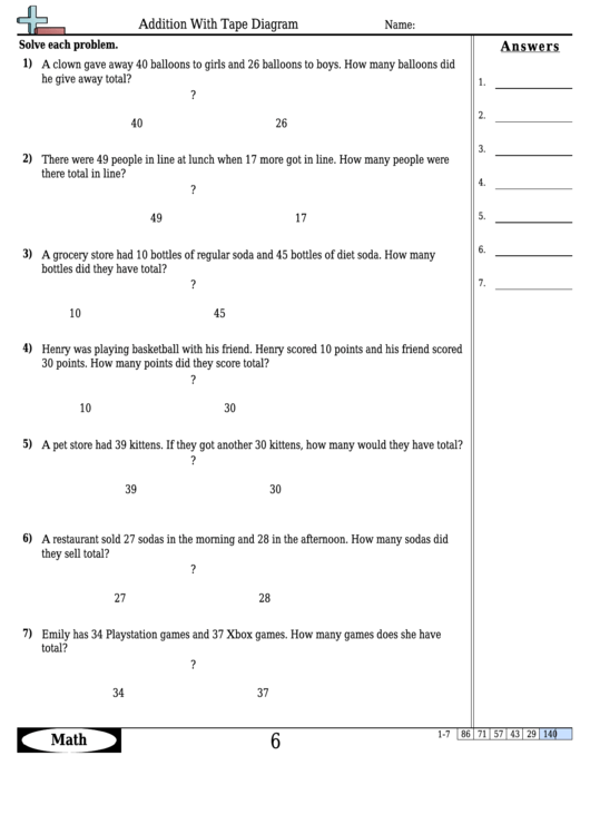 Addition With Tape Diagram Worksheet Template With Answer ...