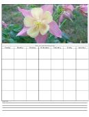 Flower Weekly Calendar Template